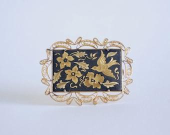 Filigree Gold Brooch -  Bird and Flowers - Black