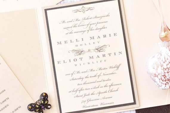 Romantic Wedding Invitation Suite in Coral and Graphite, Purchase for a Custom Sample