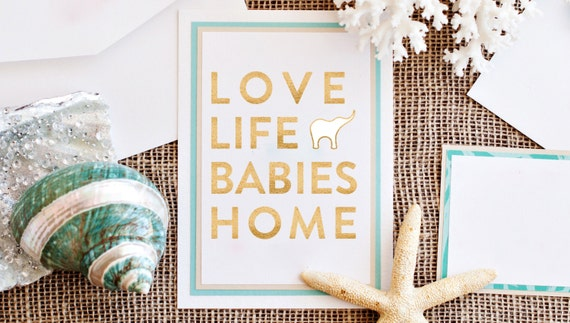Gold Foil Love Life Babies Home, 5x7 Fine Art Print