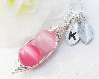 Peas in a pod, Two peas in a pod, silver pea pod necklace, pink peas in a pod, Personalized initial necklace, mothers necklace, best friend