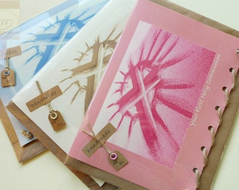 Personalised First Communion Card (blue, pink or cream) - Handmade in Ireland