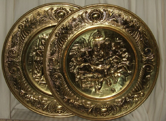 Brass Wall Plates Decor : Vintage brass wall plaques english