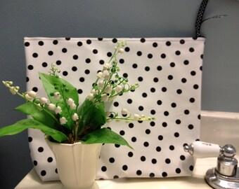 Large Cosmetic Bag/ Waterproof Cosmetic Bag/ Black Cosmetic Bag/ Polka Dot Cosmetic Bag/ Makeup Bag/ Oilcloth Bag/ Grad Gift/ Travel Bag