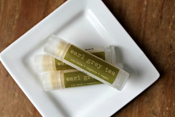 Earl Grey Tea Lip Balm, Vegan Lip Balm, Organic Lip Balm, .15oz tube