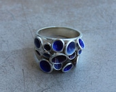 Silver Pan ring, Sky blue, blue and purple transparent enamel