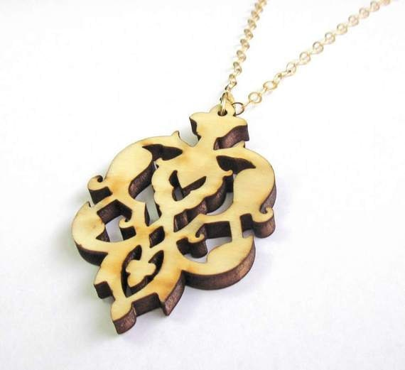 Baronyka Wooden Floral Pendant Necklace