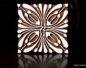 Hand Carved Indian Wood Textile Stamp Block- Square Art Deco Floral Design