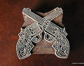 Hand Carved Indian Wood Textile Stamp Block- Steampunk Guns (REDUCED)