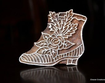 Hand Carved Indian Wood Textile Stamp Block- Victorian Style Shoe