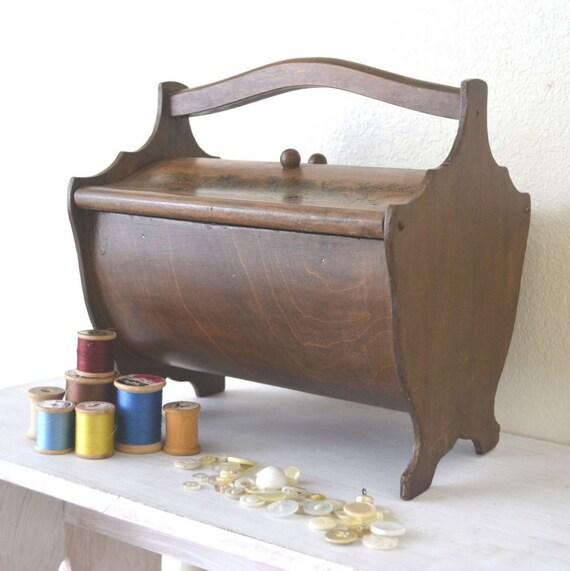 Wooden Flip Top Sewing Box Vintage Mid Century Storage