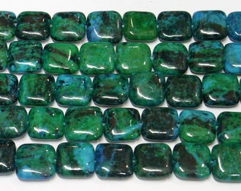 14mm Square Green Phenix Stone Bead Semiprecious Gemstone Bead Strand Wholesale Beads 6337 15''L Jewelry Supply Wholesale Beads