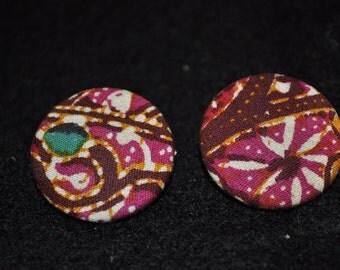 Vintage Floral - Exotic Print Fabric Earrings