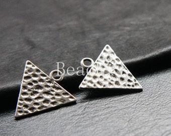 12pcs / Triangle / Textured / Drop / Oxidized Silver Tone / Base Metal / 26x24mm (YA9287//C117)