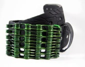 Recycled Bike Chain Belt Buckle- Curved- Candy Lime Green Finish