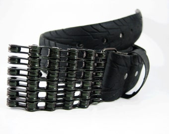 Recycled Bike Chain Belt Buckle- Curved- Iridescent Green Finish