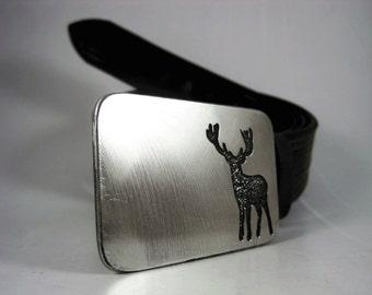 Big Buck Belt Buckle - Etched Stainless Steel - Handmade