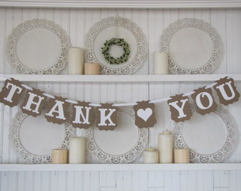 THANK YOU Banner, Wedding Sign, Wedding Thank You, Thank You Photo Card, Wedding Decoration, French Country Wedding, Burlap Wedding