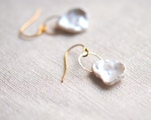 Large Keshi Pearl Gold Filled Earrings - White, Cream