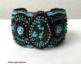 Turquoise cuff bracelet, bead embroidery bracelet, beaded cuff bracelet with real turquoise cabochons in blue, brown and black, gift for her