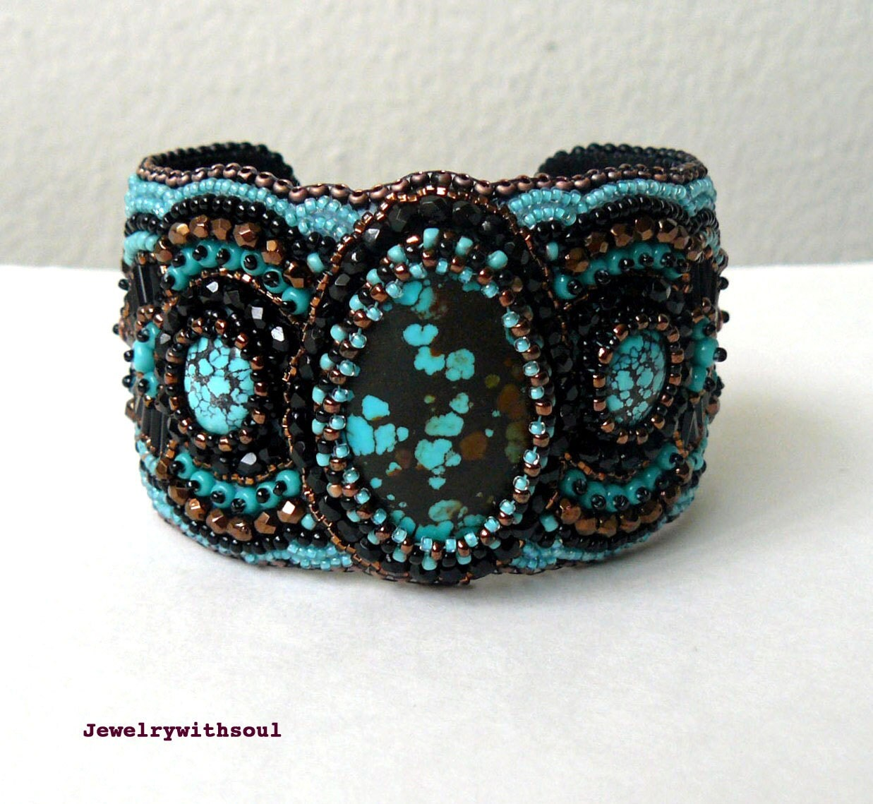 Turquoise cuff bracelet bead embroidery beaded
