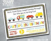 On the Go - Honk Honk, Beep Beep DIY Printable Birthday Party or Baby Shower Invitation