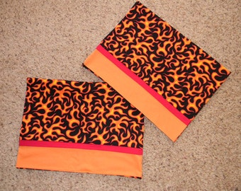 Set of Two Black, Orange, and Red, Flame Standard Pillowcases