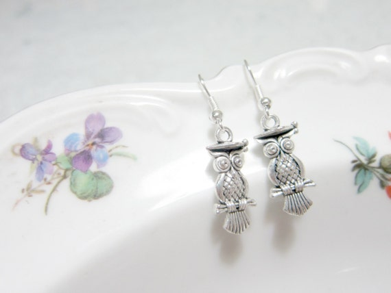 Nerdy Book Owl Silver Plated Earrings
