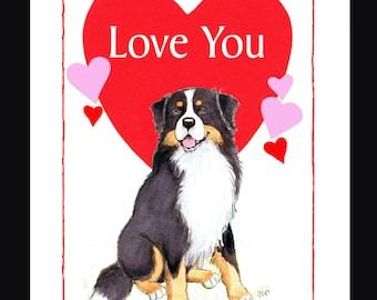 Bernese Mountain Dog Valentine Card