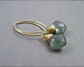 Moss Aquamarine Earrings, Gold Dangle Earrings, Teal Green Gemstone Earrings, March Birthstone Earrings, Gold Filled Jewelry