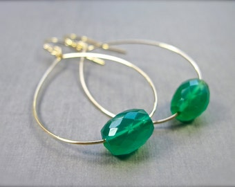 Green Onyx Gemstone Earrings, Gold Hoop Earrings, Bright Green Stone, Gold Filled Jewelry