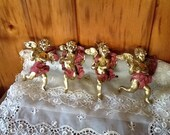 Lamp Angels Gold Paper Mâché Cherubs for Hanging Lights & Chandeliers Lighting Set of 4 Super Rare