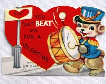 1960s Vintage Drummer Bear Valentine