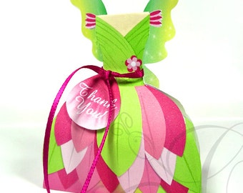 Fairy Favor Box, Pink and Green Fairy Dress Printable Favor Box, Fairy Birthday Party, Birthday