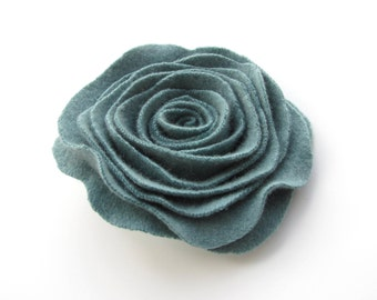 Sea Glass Green Recycled Cashmere Rose Flower Pin Felted  Wool Floral Brooch
