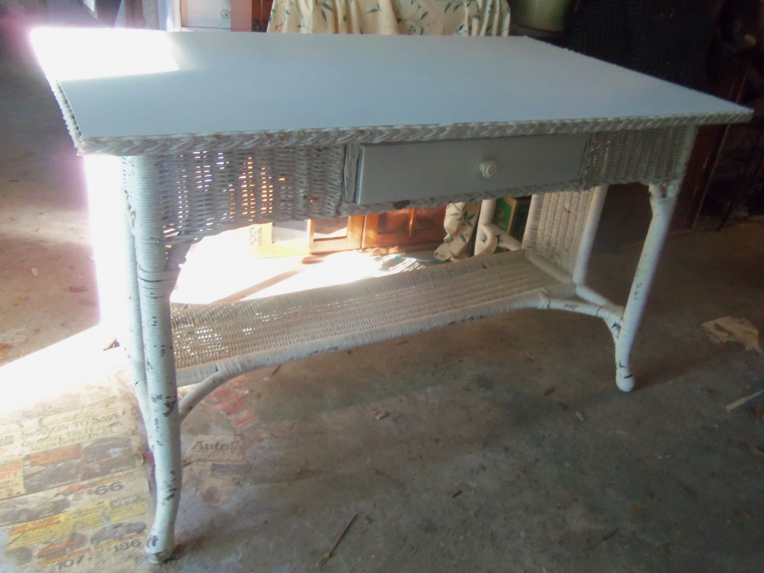 Vintage 1930 S White Wicker Table Desk Oak Top And Drawer