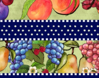 CLEARANCE!  Summer Preserves, South Sea Imports Fabric, Fruit, Stripe Nancy Cupboard