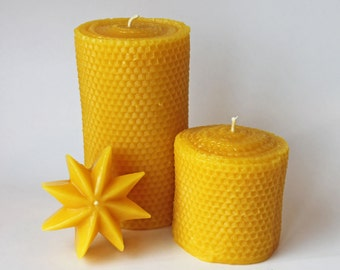 3x3 & 3x6 Pair of Beeswax Pillar Candles, honeycomb texture, handpoured beeswax candles