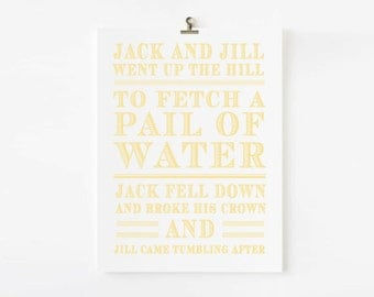 Jack and Jill Nursery Rhyme, Kids Wall Art, Nursery Rhyme Wall Art, Wall Art for Nursery, Kids Room Wall Decor, Nurdery Room Ideas, AP004