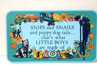 vintage boy blue plaque Snips and Snails and puppy dog tails wall art 1971 Yorkraft  York PA