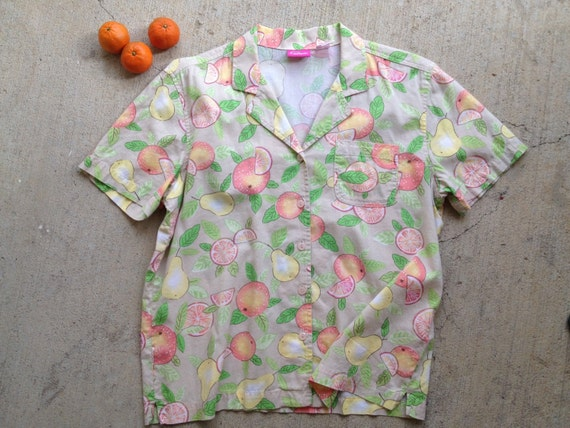 vintage sweet shirt spring summer pappagallo tangerine oranges