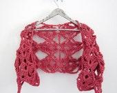 Crochet shrug bolero in coral pink - AmeBa77