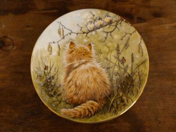 Vintage Kitten Birdwatcher Collector Plate