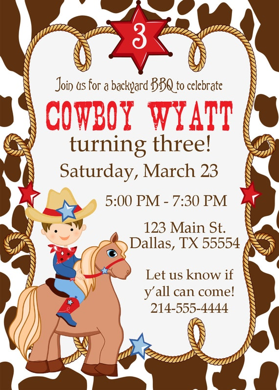Cowboy Birthday Party Invitation BBQ Birthday by ...
