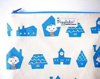 Medium Zippered Wet Bag Pouch  - Kids and Houses (Blue)
