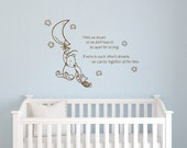 Custom listing for Ernie Classic Winnie the Pooh I think we dream so we don't have to be apart baby quote vinyl wall decal