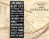 "Large Vintage CINCINNATI BUS SCROLL - Subway Art, Tram Scroll, Sign - Hand painted and distressed on artist canvas, ready to hang 22"" x 59"""