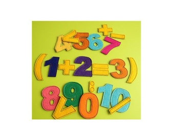 Felt numbers & math signs with magnetic layer on the back