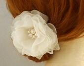 Pure Silk Wedding Hairpiece, Wedding Headpiece Bridal HeadPiece, Bridal Hair Flower Bridal Hair Accessory Swarovski Crystal Freshwater Pearl