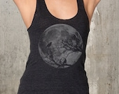 Moon And Ravens - Women's Racer Back Tank Top - American Apparel - Available in XS, S, M and L