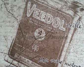 Art Deco Vintage French Ad  Veedol Motor Oil 1933 Travel Map Sepia